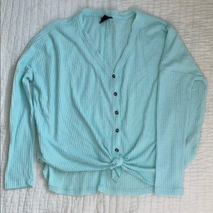 Urban Outfitters tie front button up thermal Mint